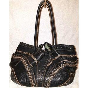 Extra large black leather hobo handbag with studs